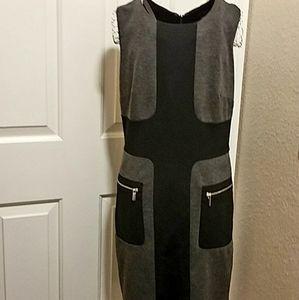 Sharagano Color Block Midi Dress Size 4